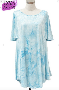 Sky Blue Tie Dye Short Sleeve Tunic 3X-5X only