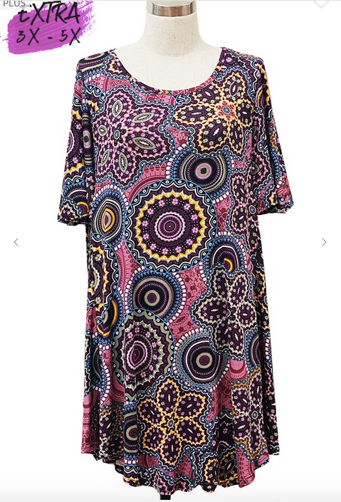 Floral/Medallion Short Sleeve Tunic 3X-5X only