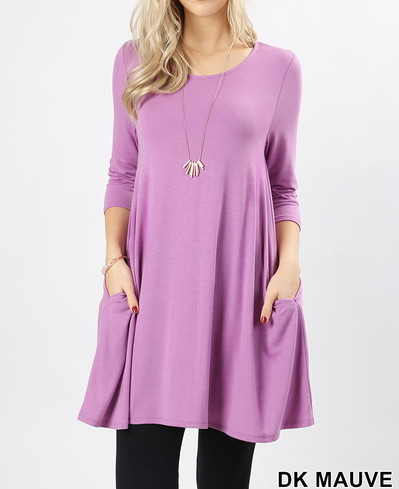 3/4 sleeve round neck pocket swing top Sizes S-XL