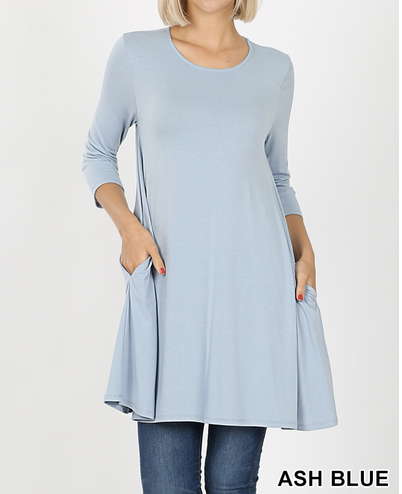 3/4 sleeve round neck pocket swing top Sizes 1X-3X