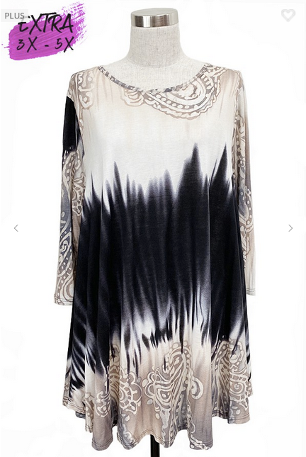 Tie Dye/Medallion Print Tunic 3X-5X only