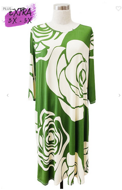 Green Floral Pocket Dress 3X-5X only