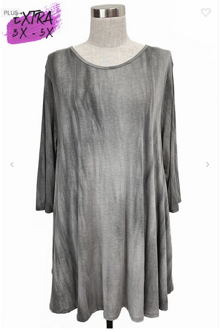 Grey 3/4 Sleeve Tie Dye Tunic 3X-5X only