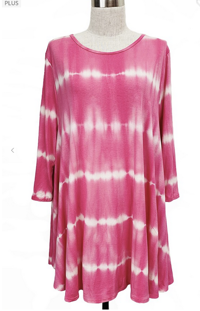 Hot Pink Tie Dye Tunic 3X-5X only