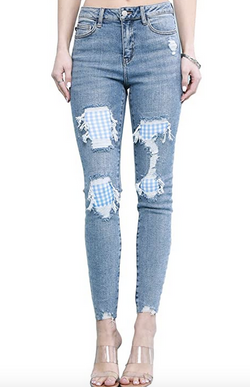 Judy Blue Gingham Patch High Rise Skinny Jean
