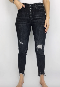 Judy Blue Black High Waist Destroyed Button Fly Jean