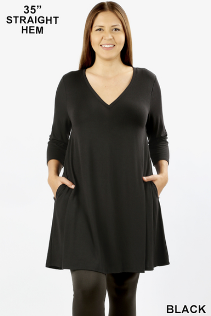 3/4 sleeve V neck tunic with pockets Sizes 1X-3X