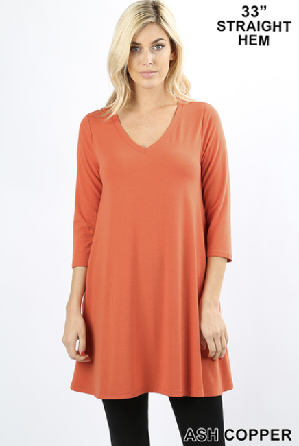 3/4 sleeve V neck tunic with pockets Sizes S-XL
