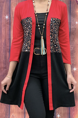 Red/black Leopard Printed Cardigan