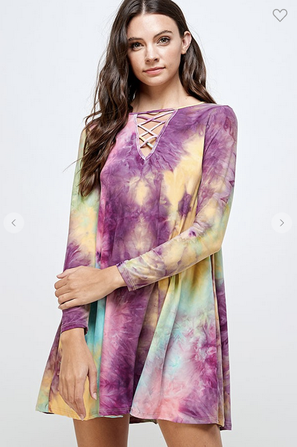 Tie Dye Dress With Criss Cross Neck