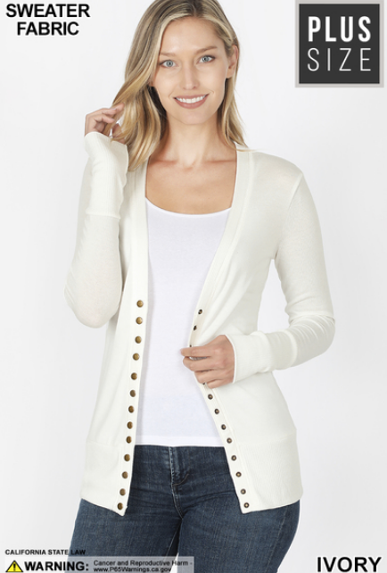 Long Sleeve Snap Front Cardigan