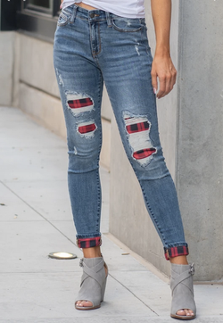 Plaid Patch Destroyed Cuff Skinny Jean