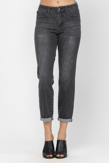 Judy Blue Black Non-Distressed Boyfriend Jean 88130