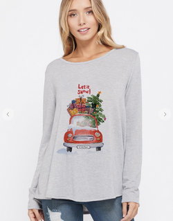 Let it Snow Boat Neck Top