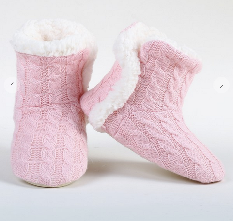 Cable Knit Faux Sherpa Lined Slippers