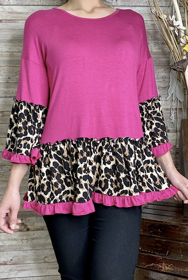 Hot pink and black Cheetah tunic