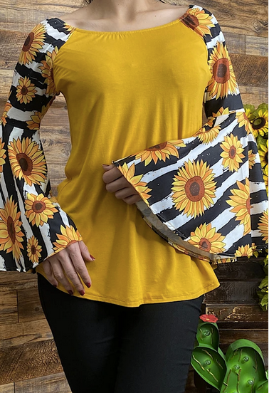 Sunflower Top with Bell Sleeves