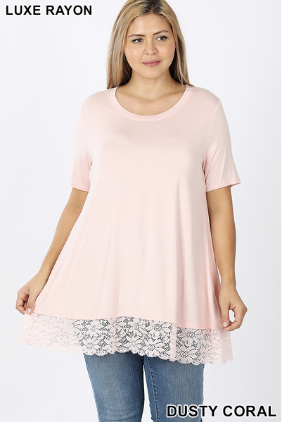 Lace bottom short sleeve top 1X-3X