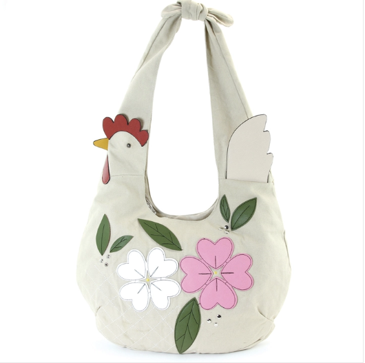 Floral chicken hobo bag