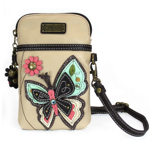 Chala Butterfly on Ivory Cell Phone Crossbody