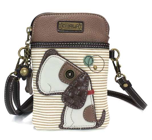 Chala Dog/brown stripe Cell Phone Crossbody