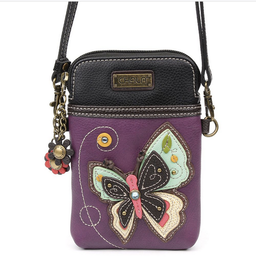 Chala Butterfly on Purple Cell Phone Crossbody