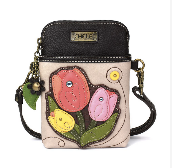 Chala Tulips on Ivory Cell Phone Crossbody