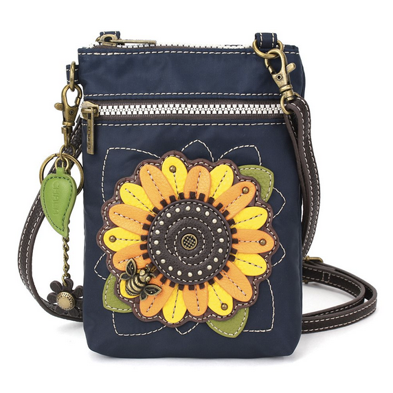 Chala Turquoise Navy Sunflower RFID Cell Phone Crossbody