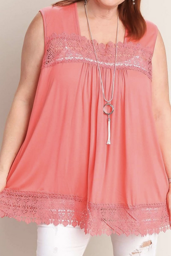 Crochet trimmed pink loose fit top