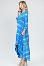 Turquoise tie dye dress with pockets