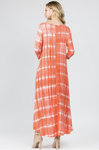 Orange tie dye dress with pockets