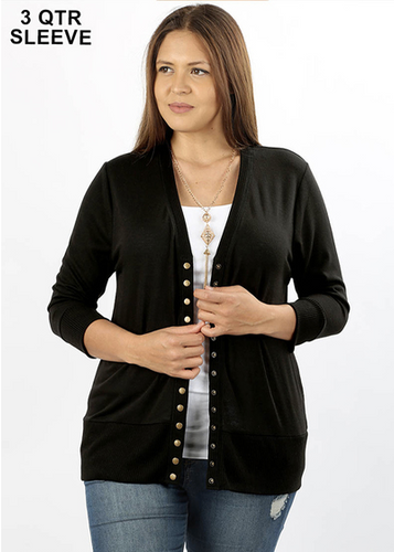 3/4 Sleeve Snap Front Cardigan
