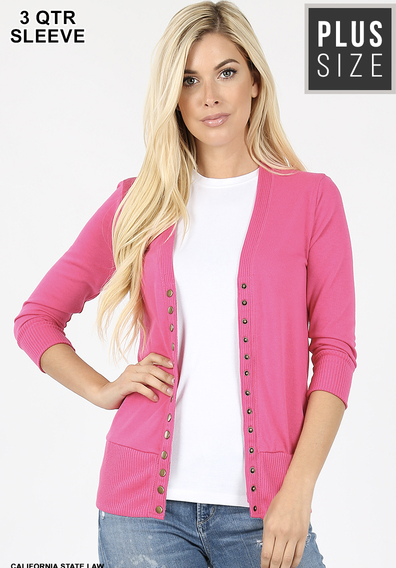 3/4 Sleeve Snap Front Cardigan 1X-3X