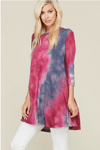 Deep pink and grey tie dye top