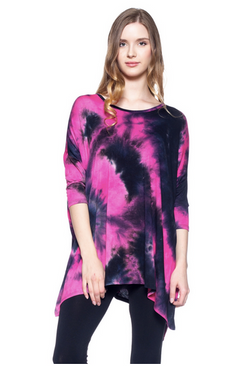 Hot pink and black tie dye top