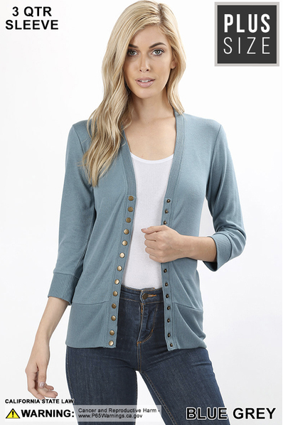 3/4 Sleeve Snap Front Cardigan S-XL