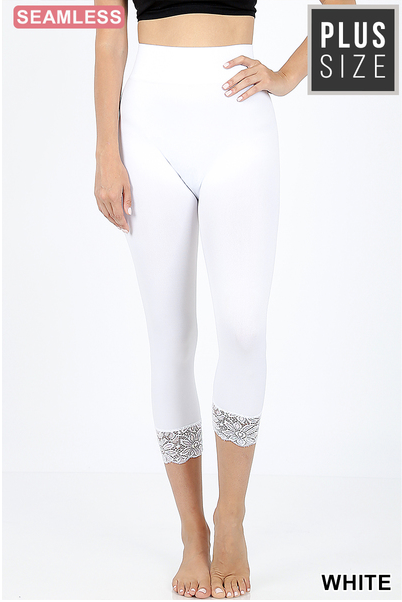 Lace bottom capri leggings
