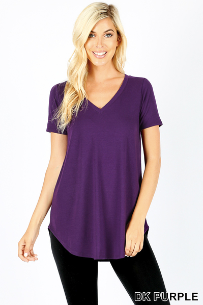 V-neck round hem short sleeve top