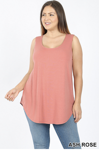 Sleeveless round neck round hem top