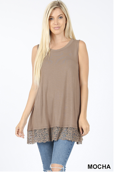 Lace bottom tank Sizes 1X-3X