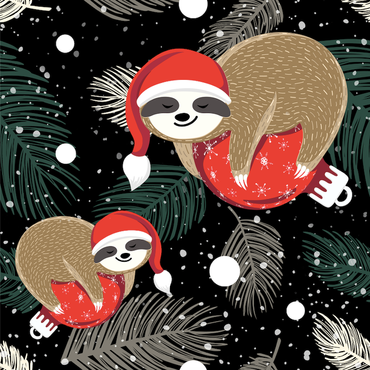 Santa hat sloths full length legging with pockets