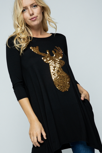 Sequin reindeer long top with pockets