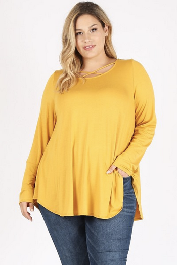 Long sleeve cross front top (3X-5X only)
