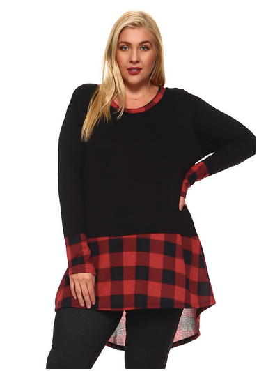 Buffalo plaid trim top