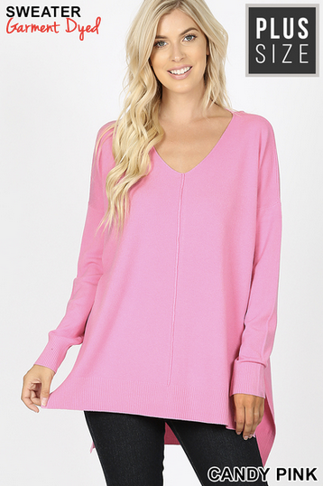 V Neck center seam sweater
