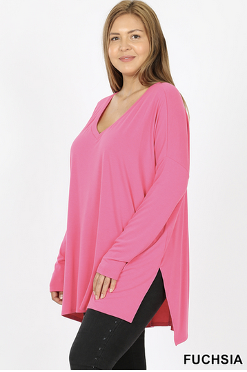 Long sleeve dolman V neck with side slits