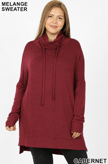Brushed Melange Funnel Neck Sweater