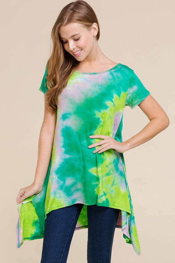 Green tie dye top