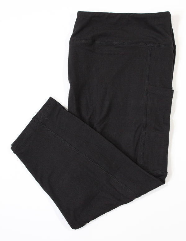 100% cotton black capris with pockets