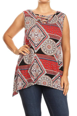 Cross Front Geometric Patterned Tanktop